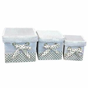 Storage Basket Hamper Home Organiser Handmade Multipurpose with Lid Set of 3