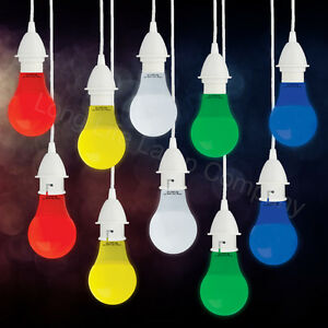 5W LED Coloured GLS A60 Light Bulb B22 or E27 RED BLUE GREEN YELLOW WHITE