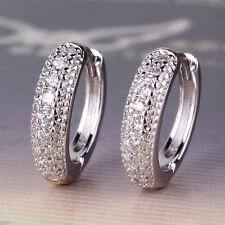 Chic style earring!Wedding White Topaz Design lady 18K white GF Huggie earring