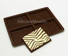 4 Cella Zebra Print cioccolato candy bar Chocolatier Artisan STAMPO IN SILICONE MOLD