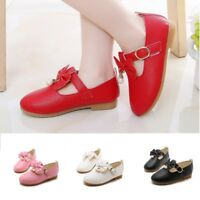 Children Kid Baby Girls Solid Leather Bowknot Pearl Princess Single Casual Shoes