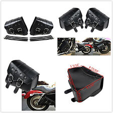 Left/Right Motorcycle PU Leather Side Bag Saddle Bags Black For Harley Davidson