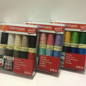Gutermann Premium Quality 10 Colours 100 metres Polyester Sew-all Sewing Thread