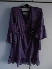 Robe tunique violet imprimé avec volants manches pagode