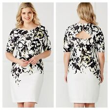 Kaleidoscope Size 20 Simply Fab Ivory Multi Floral Placement Print DRESS £65