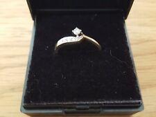 VINTAGE 9ct GOLD & Anello Di Diamanti dimensione N 3/4, gioielli d'oro