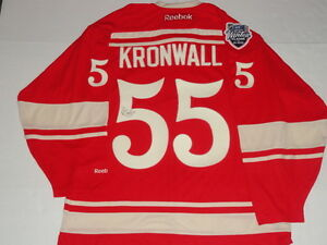 NIKLAS KRONWALL SIGNED RBK RED WINGS 2014 WINTER CLASSIC LICENSED JERSEY