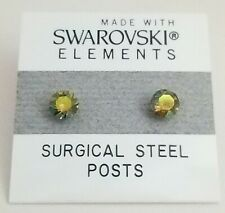 Olive Green Round Stud Earrings 5mm Shimmer Crystal Made with Swarovski Element