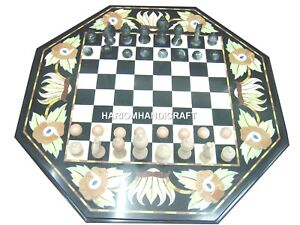 """18"""" Black Marble Coffee Chess Side Table Top Inlaid Marquetry Mosaic Decor H1203"""