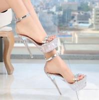 Women's Clear High Heels Platform Sexy Buckle Strap Transparent Sandal Nightclub