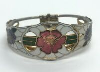 "Vintage Bracelet 6.5"" Cloisonne Hinged Flower Enamel Bangle"