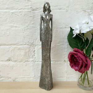Contemporary Silver Standing Elegant Lady Hands By Side Figure Ornament X-Large