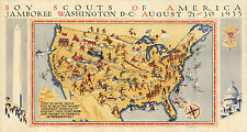 Early Pictorial Map Boy Scouts America jamboree Washington Wall Art Poster Decor