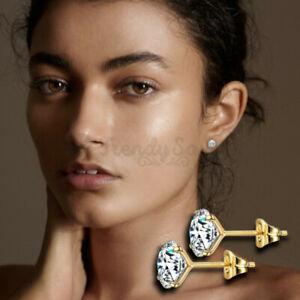 4MM Women 18K Gold Filled Genuine 925 Sterling Silver Cubic Zircon Stud Earrings