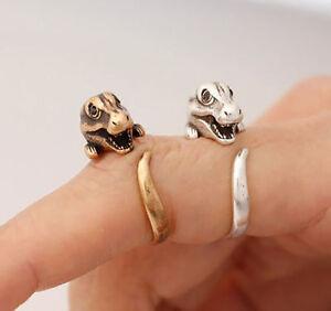 Dinosaur T- REX Jurassic Dragon Adjustable Wrap Ring In Silver & Bronze Colour