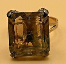 Vintage 10kt Yellow Gold LARGE Smoky Quartz Gemstone Ring 5.1g Sz 6.5 EXCELLENT