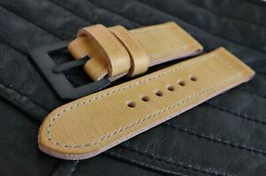 handmade 26mm veg tan leather watch strap, handcrafted GPF buckle, for Panerai