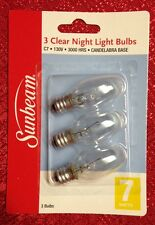 3 Pk CLEAR NIGHT LIGHT BULBS 7 Watt  Standard Candelabra Base 3000 Hours New