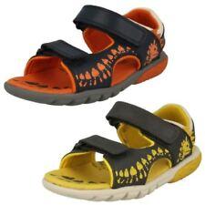 BNIB Clarks Boys Tyrano Roar Navy Leather Sandals G Fitting