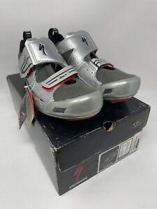 Specialized TRIVENT Carbon Triathlon Tri Shoes EU 47 US 14 Silver MSRP $165