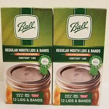 Ball REGULAR MOUTH Canning Jar Lids and Bands. 2-Pack of 12 (24). Free Shipping