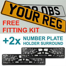 Car Pair metal aluminium number plates pressed embossed Legal Road GB REG Oblong