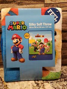 Super Mario Brothers 40in x 50in Kids Silky Soft Fleece Throw Blanket  NEW