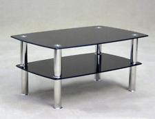 Togo Coffee Table in Black Glass with Shelf Free Delivery