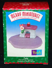 Merry Miniatures Piglet Christmas at Pooh's House ~ Hallmark Figurine Dated 1999