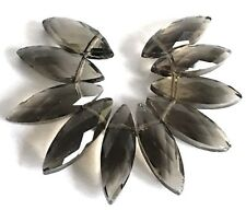 22x7mm Smoky Glass Quartz Faceted Marquise Drop Beads (10)