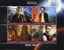 Madagascar 2018 CTO Han Solo Star Wars Chewbacca 4v M/S Movies Film Stamps