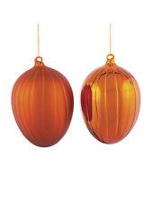 28443 Melrose Set/2 LARGE Orange Pumpkin Glass Christmas Ornament Harvest Fall