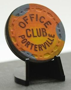 Office Club Casino $20 Chip Porterville California Small Crown TRK Fire Chip