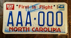 1985 First In Flight NORTH CAROLINA Sample License Plate AAA - 000