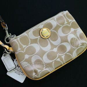 NWT Coach Tan/Yellow Signature optic Small Wristlet/ Universal Pouch 47020 NEW