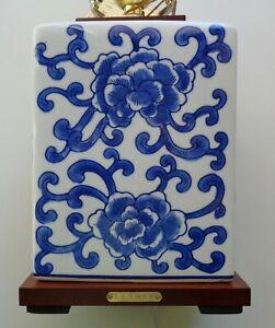 RALPH LAUREN TABLE LAMP DESK PORCELAIN LOTUS FLOWER MANDARIN BLUE WOOD LOGO NEW