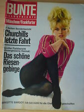 BUNTE ILLUSTRIERTE # 7 CHURCHILL 17.2.65 60er Brigitte Bardot BB Hitchcock retro