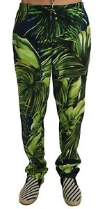 NEW $700 DOLCE & GABBANA Pants Green Leaves Cotton Casual Pyjamas Lounge W34