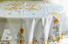 Round Table Cloth, Embroidered Orange Daffodils, D180cm (72in) FFDWY52