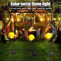 Solarlampe Vintage Metall LED Garten Solarleuchte Flackernde Flamme Effektlicht