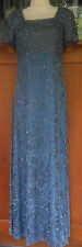 Silk Beaded Evening Formal Gown XS Blue Gray Sean Collection BLING 5g19