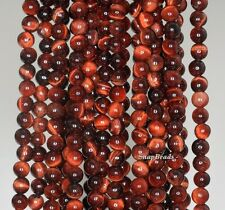 4MM  RED TIGER EYE GEMSTONE BROWN RED ROUND 4MM LOOSE BEADS 15.5""