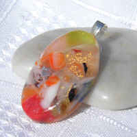 Handmade Dichroic Glass Pendant Necklace Women's Jewellery Orange Gold Silver