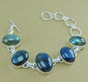 Labradorite Gemstone 925 silver plated handmade Adjustable Bracelets 7'' to 8''