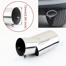 "Universal Auto Accessories Chrome Rear Exhaust Muffler Tail Tip Pipe 2.8"" 72mm"