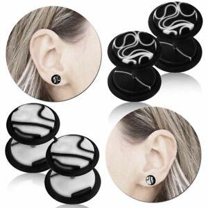Studs Earring Fake Plug Flesh Tunnel Piercing Marble 10mm Acrylic Steel Cheater