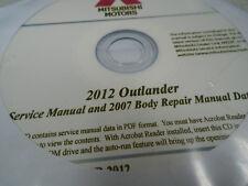 2012 Mitsubishi Outlander Service Manual & 2007 Body Repair Manual Data CD OEM