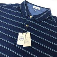 New Peter Millar Seaside Mens Short Sleeve Blue Striped Golf Polo Shirt NWT $115