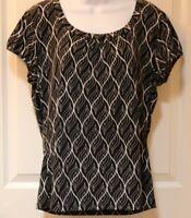 Worthington Short Sleeve Blouse Size XL Black White Geometric Design Gathers