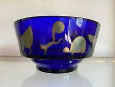 """7"""" Rosenthal Egizia Sottsass Cobalt Glass Bowl Sterling Overlay Animals"""